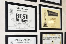 Being top-rated among restaurants in San Marcos, TX, Italian Garden's wall is full of various awards, including Best of Hays.
